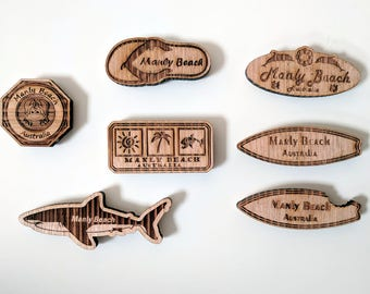 Manly Beach solid wood fridge magnet, laser engraved and laser cut from Tasmanian Oak wood, 100% Australian hand made, Australia souvenir.
