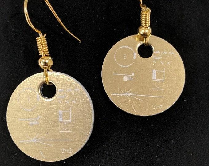 Voyager Golden Record earrings - laser engraved, with gold plated wire hooks. Pair them with the matching Voyager pendant!