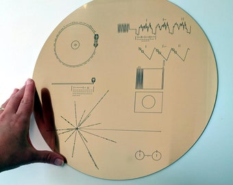 Full size replica of NASA Voyager Golden Record cover, laser engraved on golden metallic laminate. Celebrate the Voyager missions!