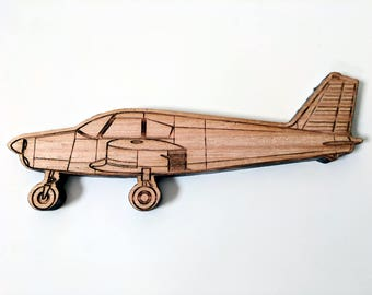 Piper Cherokee airplane fridge magnet, laser engraved and laser cut from solid Tasmanian Oak wood, 100% Australian hand made.