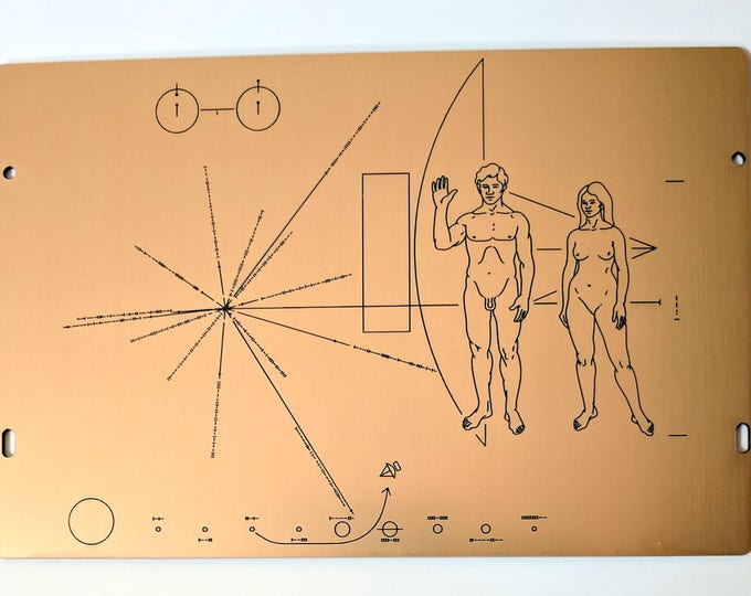Full size replica of NASA Pioneer Plaque, laser engraved on golden metallic laminate.