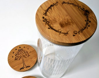 Tolkien glass canister with laser engraved bamboo lid. The One Ring inscription; Tree of Gondor; Smaug the dragon - choose your design!