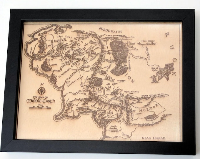 Map of Middle Earth, laser engraved on wood. Framed or unframed. Great gift for any Tolkien fan!