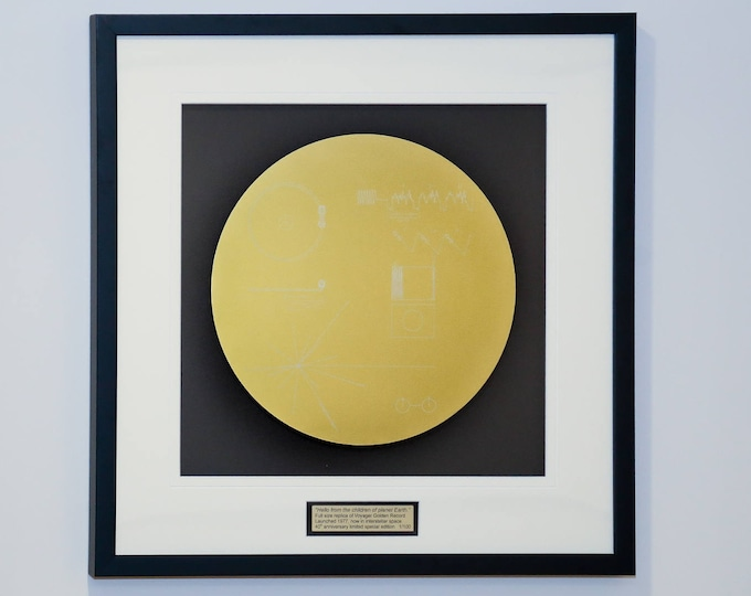 Framed full size replica of NASA Voyager Golden Record, laser engraved, framed wall art.