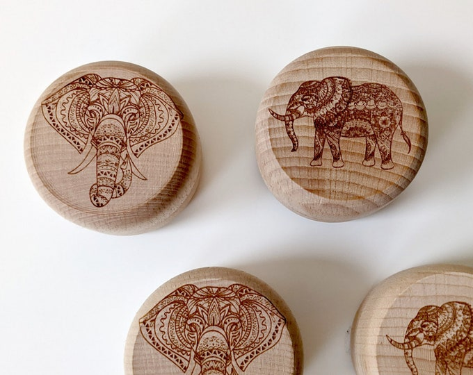 Elephant wooden ring box, small wooden box with laser engraved elephant. Twist top box, perfect for a ring or a small keepsake. Two designs.