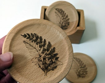 TLOU coaster set of 6 solid wood coasters in a box, Ellie's Tattoo laser engraved on each coaster. The Last of Us inspired