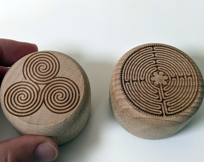 Labyrinth ring box, small wooden box with laser engraved labyrinth. Twist top box, perfect for a ring or a small keepsake. Two designs.