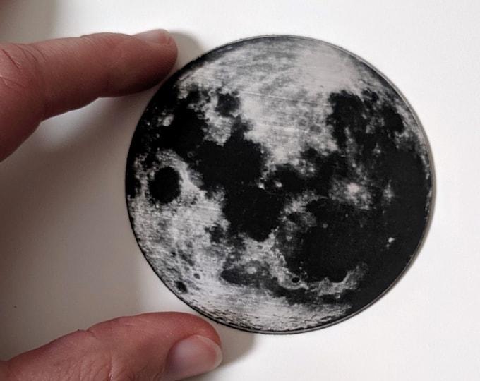 Full moon fridge magnet, laser engraved. Celebrate the first moon landing! NASA Apollo 1969