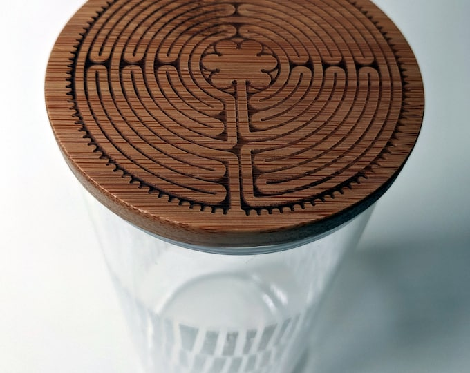 Labyrinth tall glass canister with laser engraved bamboo lid. Notre-Dame de Chartres Cathedral labyrinth, Paris France