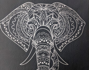 Elephant Notebook / Journal laser engraved on leatherette. Travel journal / diary. Vegan leather lined notebook with satin bookmark.