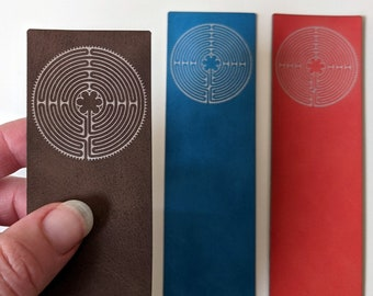 Labyrinth leatherette bookmark - laser engraved on soft, vegan leather. Handmade in Australia. Can be customised!