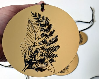 The Last of Us Ellie's tattoo Christmas tree ornament, metallic silver or gold. Laser engraved. TLOU TLOU2