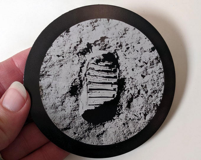 Footprint on the Moon - Buzz Aldrin's bootprint. Set of four laser engraved coasters. Metal coasters with felt backing. Apollo mission 1969
