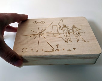 Pioneer Plaque wooden box, laser engraved. Wood jewellery box, great for photos or as a ring box. Customisable!