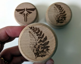 TLOU inspired ring box, small wooden box with laser engraved design. Ellie's Tattoo or Firefly symbol, Twist top box