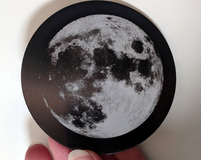 Full moon - Set of four laser engraved coasters. Metal coasters with felt backing.