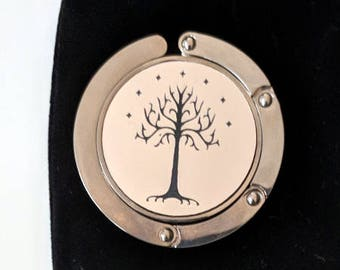 The Tree of Gondor purse hanger, laser engraved. Comes with an elegant black velvet pouch. Lord of the Rings, Hobbit, Tolkien