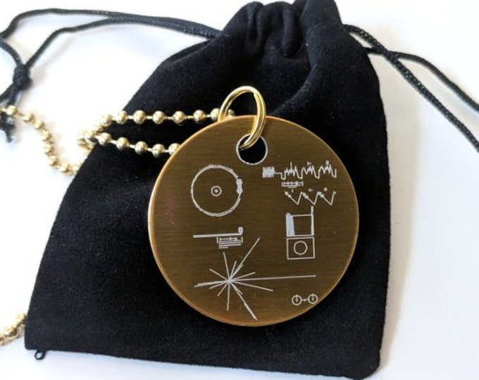 Voyager Golden Record pendant - necklace - laser engraved, in a black velvet drawstring pouch. Includes 80cm ball chain. Can be customised!