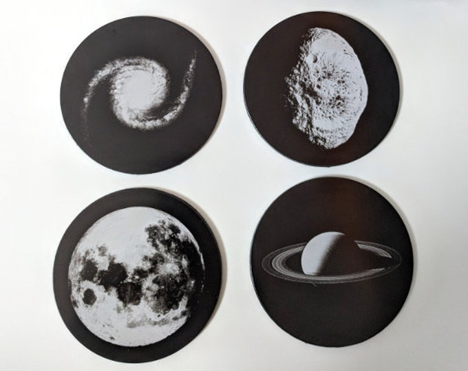 NASA Astronomy coaster collection - Set of four laser engraved coasters: Full Moon, Galaxy, Saturn, Hyperion.