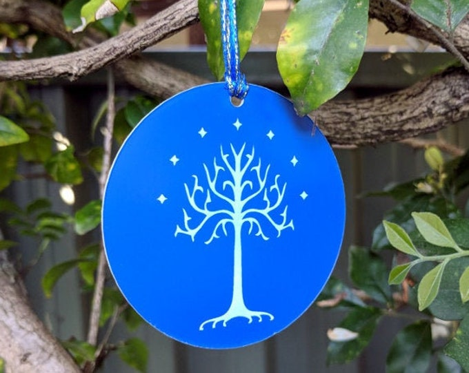 LOTR Christmas tree ornament - The White Tree of Gondor with 7 stars- laser engraved decoration. Lord of the Rings, Hobbit