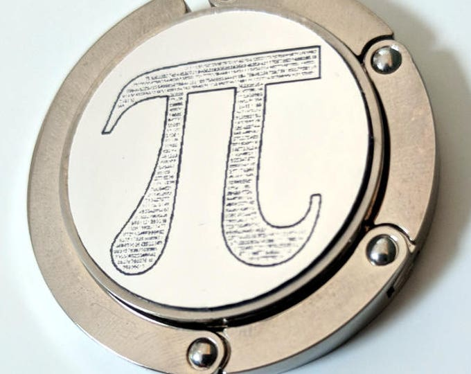 Pi purse hanger - 459 digits of Pi laser engraved! Comes with an elegant black velvet pouch. Great gift for the mathematician in your life.