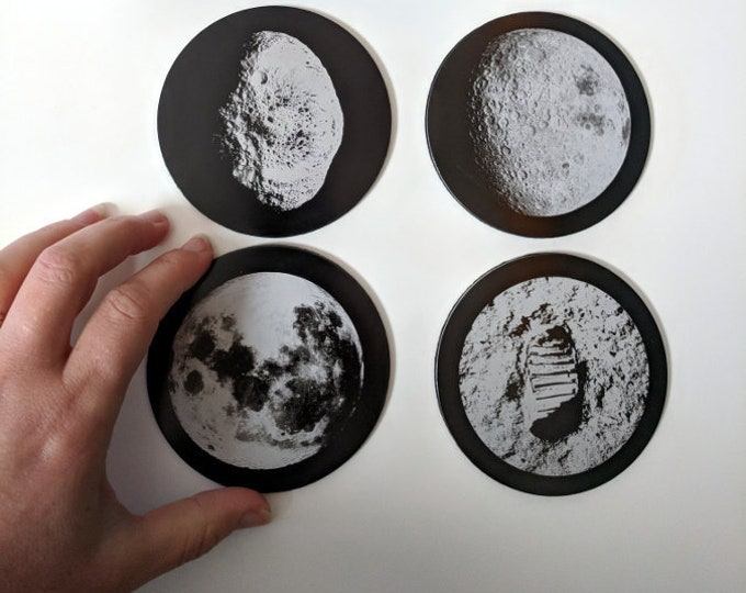 NASA Moons coaster collection - Set of four laser engraved coasters: Full Moon, Dark Side of the Moon, Buzz Aldrin Footprint, Hyperion