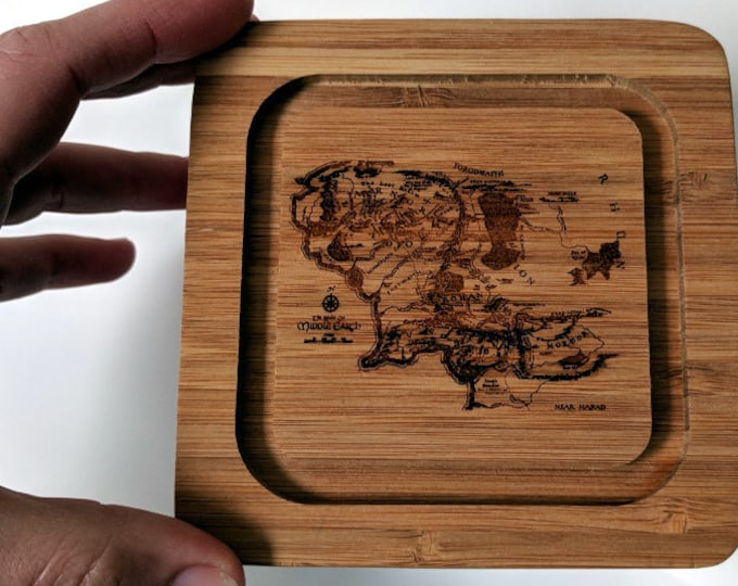 Map of Middle Earth clear acrylic box, with laser engraved bamboo lid. Great for pantry items, rings and precious things...