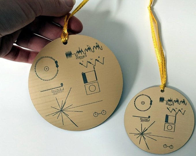 NASA Voyager Golden Record Christmas tree ornament, metallic gold, laser engraved decoration. Celebrate the Voyager missions this Christmas!