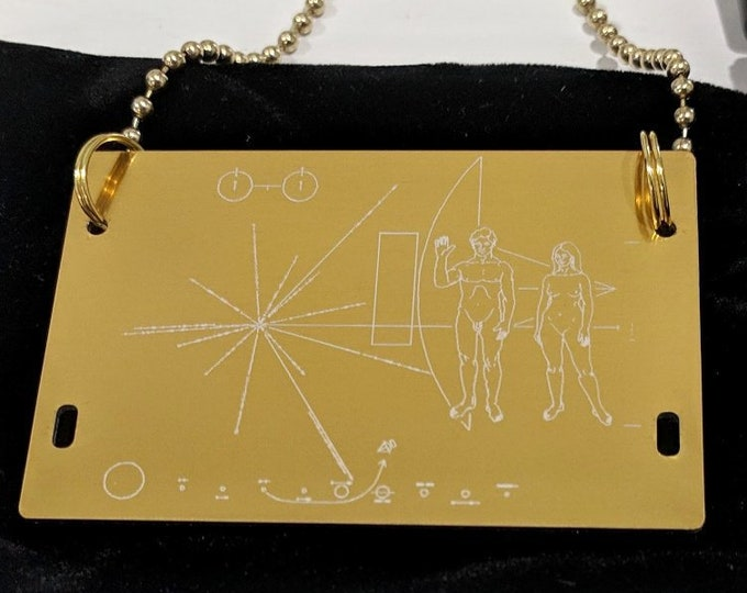 NASA Pioneer Plaque pendant - necklace - laser engraved. Comes in a black velvet pouch. Includes 80cm ball chain. Can be customised!