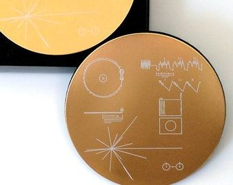 NASA Voyager Golden Record - Set of four/six coasters, exquisitely laser engraved on aluminium.