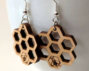 Honeycomb earrings, laser cut from wood, with a little bee.  Free shipping!