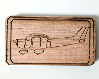 Cessna C172 airplane fridge magnet, laser engraved and laser cut from solid Tasmanian Oak wood, 100% Australian hand made.