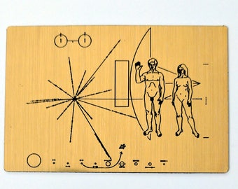 NASA Pioneer Plaque magnet, laser engraved golden metallic fridge magnet.