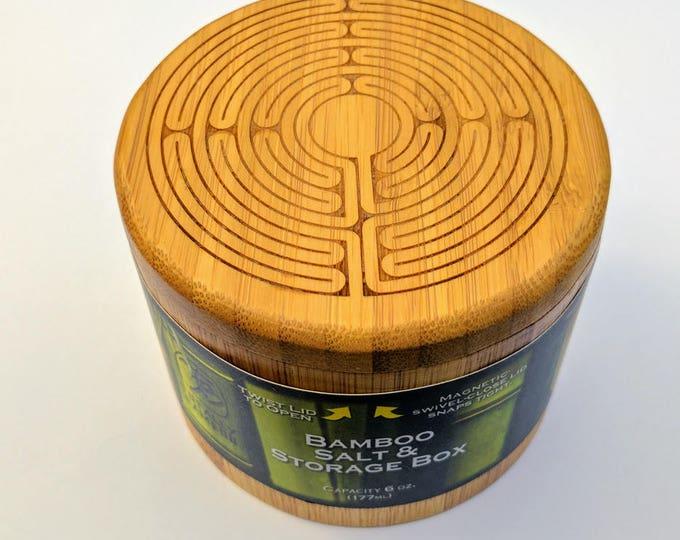 Labyrinth Bamboo Salt Box, Laser Engraved. Swivel top salt box.