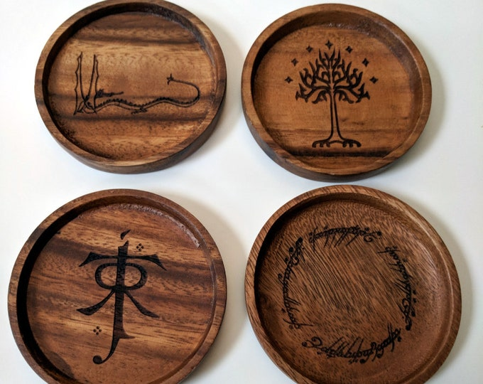 Tolkien coaster set - Lord of the Rings and The Hobbit - set of four acacia wood coasters, laser engraved.