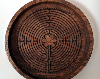 Labyrinth coasters - set of four acacia wood coasters, laser engraved. Notre-Dame de Chartres Cathedral labyrinth