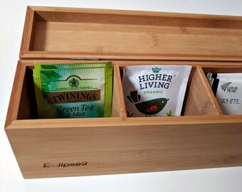 Custom laser engraved bamboo tea box
