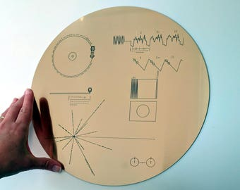 Clearance sale! Slightly scratched Full size replica of NASA Voyager Golden Record cover, laser engraved on golden metallic laminate.