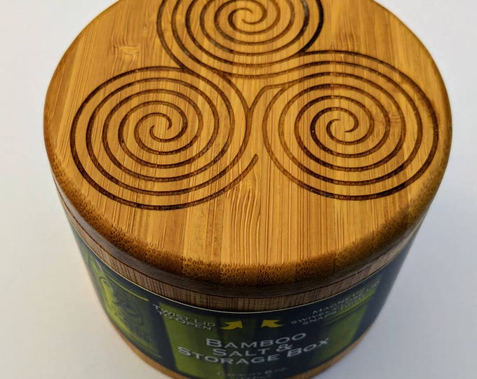 Triple Spiral Labyrinth Bamboo Salt Box, Laser Engraved.  Swivel top wooden box.