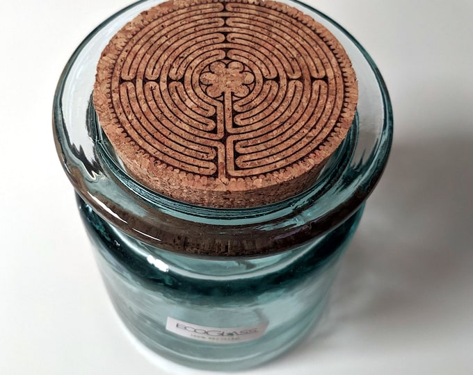 Labyrinth glass jar with cork lid. 100% recycled glass! Notre-Dame de Chartres Cathedral labyrinth Paris