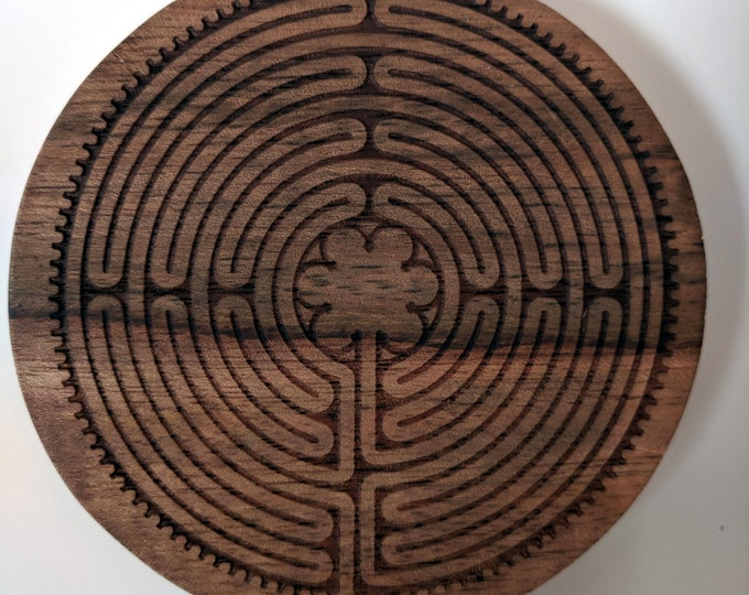Labyrinth coasters - set of two acacia wood coasters, laser engraved. Notre-Dame de Chartres Cathedral labyrinth