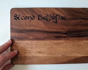 Second Breakfast wood serving board, laser engraved