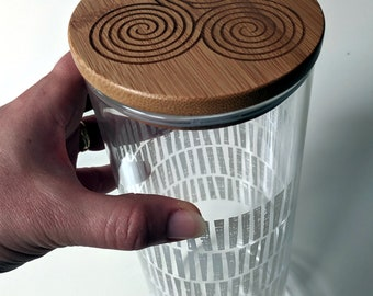 Triple Spiral Labyrinth tall glass canister with laser engraved bamboo lid.
