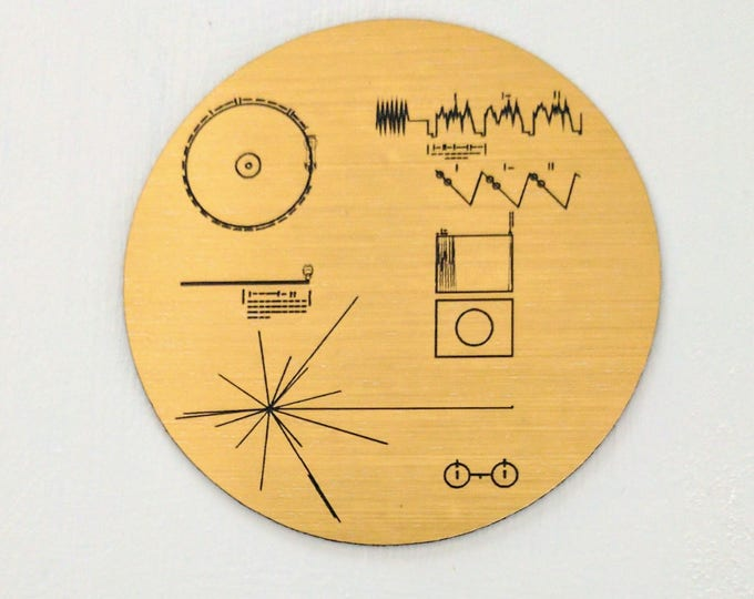 NASA Voyager Golden Record magnet, golden metallic laser engraved fridge magnet.