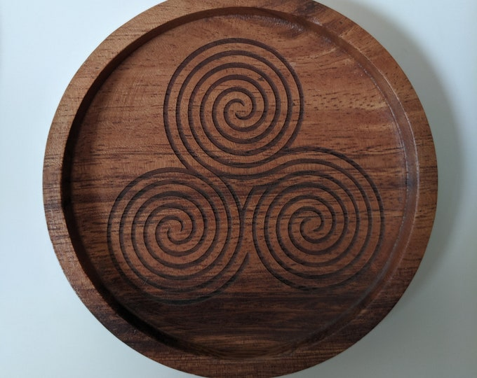 Triple Labyrinth coasters - set of four acacia wood coasters, laser engraved.