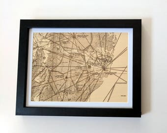 Aeronautical chart of Sydney Australia, laser engraved on wood. SYD airport, Richmond, Bankstown, Camden and surrounding area map.