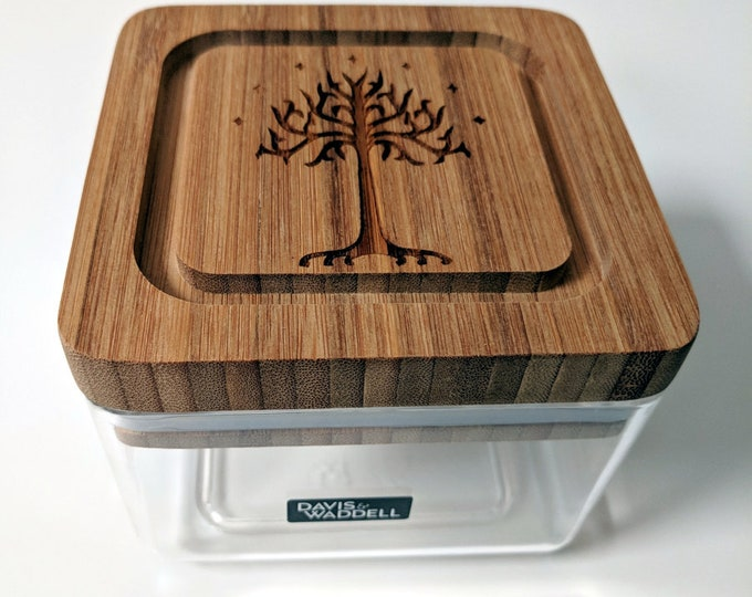 Tolkien clear acrylic box, with bamboo lid laser engraved with the Tree of Gondor. Great for pantry items, rings and other precious things..