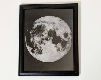 Full Moon laser etched in stunning detail on black aluminium and set in a black frame.