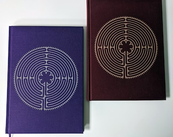 Linen Labyrinth Notebook / Art Journal, laser engraved. B5, 100 GSM plain paper.  Notre-Dame de Chartres Cathedral labyrinth. Can customise!