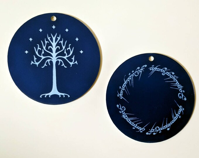 Tolkien Christmas tree ornaments - The One Ring inscription in Elvish and The White Tree of Gondor with 7 stars- laser engraved decoration.
